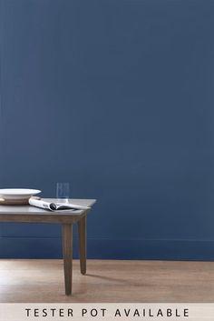 Buy Midnight Blue Matt Emulsion Paint from the Next UK online shop Midnight Blue Bedroom, Blush Living Room, Navy Blue Bedrooms, Saint Cloud, Butterfly Wallpaper, Striped Wallpaper, Online Painting, Interior Walls, Next Uk