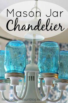 Blue Mason Jar Chandelier DIY