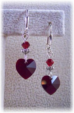 New Swarovski Red/Garnet Heart Charm Crystal by HisJewelsCreations, $17.80