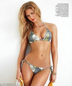 Summer style: In the magazine, the 5ft 11in blonde shows off her bikini body as she strikes a pose in the season's hottest swimsuits