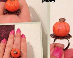 Calabaza Halloween joyería Jack-o-lantern anillo por thinkupjewelry