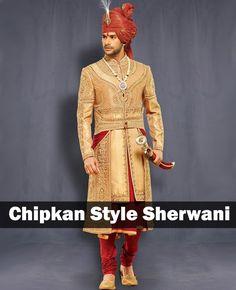 Chipkan Style Sherwani... Interesting!!  Find more 8 Types of Wedding Sherwani on LooksGud.in    #ChipkanStyle, #Sherwani, #Groom, #Fashion