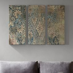 Impress your guests with this Madison Park Weathered Damask Walls linen wall art set. Wall Art Sets, Diy Wall Art, Large Wall Art, Stencil Wall Art, Arte Pallet, Damask Stencil, Damask Decor, Fabric Wall Art, Canvas Wall Art