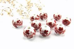 Red Ceramic Beads 12mm Round Ceramic Beads Floral by Cchange