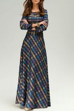 Vintage Scoop Neck Long Sleeve Plaid Prom Maxi Dress For Women Pin: Atelier jose Modest Outfits, Modest Fashion, Hijab Fashion, Fashion Dresses, Fashion Clothes, Mens Fashion, Trendy Dresses, Cute Dresses, Beautiful Dresses