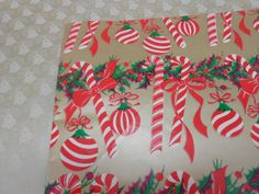 Vintage Christmas Gift Wrap 50s 60s 2 Full Sheets Bells Stripes and Poinsettia
