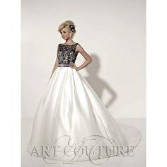 Art Couture AC359. An elegant dress with a high neck and low back, in beaded lace. The dress is complimented by a diamanté and crystal belt and a full satin skirt. The bodice is available in black (as shown), or ivory.
