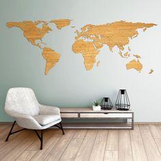 De wereldkaart van bamboe heeft een dikte van 6 mm, waardoor een mooie slagschaduw op de muur wordt gecreëerd. De aangebrachte houtolie zorgt ervoor dat de nerf van het bamboe nog meer tot zijn recht komt. World Map Wall Decal, Wall Maps, Wall Mural, Vinyl Wall Stickers, Wall Decal Sticker, Wood World Map, Use Of Technology, Wood Wall Art, Creative