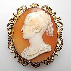 Hand-signed shell cameo brooch pin from the Georgian Era. Solid 22K gold. Georgian Era jewelry is hard to come by. This is a great find.