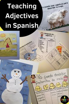 Looking for ideas on how to teach your sudents adjectives in Spanish? Read this article about worksheets, ideas, anchor charts, pictures and activities on how to teach adjectives in Spanish to your students. Parts of speech in Spanish. Como enseñar adjetivos en tu clase de español.