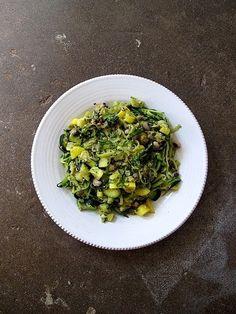 zucchini noodles, crookneck squash, garlic + pesto – Eggplant + Olive Olive Recipes, New Recipes, Vegetarian Recipes, Dinner Recipes, Cooking Recipes, Healthy Recipes, Crookneck Squash, Side Salad Recipes, Pesto Recipe