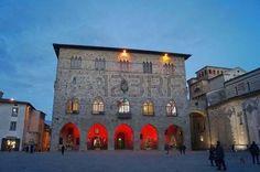 City Hall at evening on Christmas, Pistoia, Tuscany, Italy