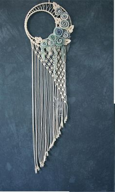 Moonlight macrame Wall Hanging /Home Tapestry/wedding Bohemian background/Dip dyed Cotton Tapestry/pingk- Macrame Design, Macrame Art, Macrame Projects, Macrame Knots, Macrame Jewelry, Macrame Wall Hanging Patterns, Macrame Patterns, Dream Catcher Craft, Making Dream Catchers