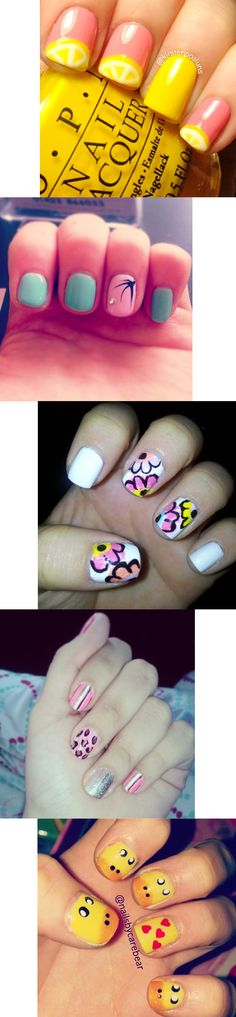 Fun, Fruity, and Feminine Nails! Check out this collection of flowery, bright, and playful nail art. | Duck nails, animal nails, lemon nails, fruit nail art, palm tree, leopard print, cheetah spots, pink, yellow, nail designs for short nails | Nailpro Magazine