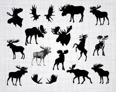 2 Digital Sheets ROSE GARDEN CATS Printable Images to print on fabric / paper, Iron On Transfer for totes t-shirts pillows home decor Moose Silhouette, Animal Silhouette, Silhouette Files, Silhouette Studio Designer Edition, Moose Antlers, Moose Art, Moose Clipart, Moose Tattoo, Antler Tattoos