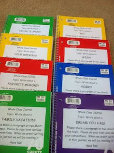 "Pinner said, ""My students last year loved having whole class journals to write in.  They had a chance to write in them during Work on Writing, and a chance to read them during Read to Self.  I made up a new set of 8.  At the moment they are pretty plain covers, but once a student writes in it they have the option of choosing a sticker from my collection to place on the front cover.  The stickers show me how many kids have tackled each topic."""