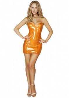 Dit Oranje paillette jurkje is een strapless jurkje in neon oranje met glimmende oranje paillette. Aan de bovenzijde is de oranje paillette jurk afgewerkt met een glimmende oranje stof. Het oranje paillette jurkje is perfect voor een oranje feest zoals koningsdag om op stijlvolle wijze op te vallen tussen al de andere oranje gekke. Dit jurkje kan met accessoires af gemaakt worden naar ieders smaak of gelegenheid. Dit te gekke oranje jurkje is de koningsdag knaller van Roma Costumes!
