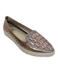 Look what I found on #zulily! Champagne Gem Studded Loafer #zulilyfinds