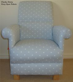 Clarke Dotty Grey White Fabric Chair Armchair Nursery Polka Dot Shabby Chic New