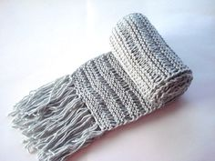 hand knit scarfs light Grey Knitted long Mens by AnatoliaDreams, $30.00