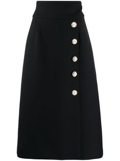 Black wool/silk blend high-waisted buttoned midi skirt from Dolce & Gabbana featuring high-waisted, A-line skirt, concealed back fastening and decorative buttons to the front. Prom Dress Shopping, Online Dress Shopping, Shopping Sites, Plus Size Womens Clothing, Plus Size Outfits, Size Clothing, Outfits For Mexico, Frock For Women, Formal Dresses For Teens