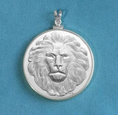 Reversible Great Spirit Lion Silver Finish Medallion in Sterling Silver Bezel Pendant For Him or Her - Gift Boxed on Etsy, $59.00