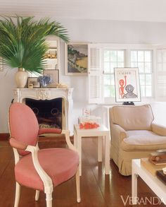 Classic Caribbean low-key style mixes with a French antique mantel and mirror.