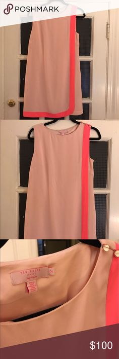 Gorgeous Ted Baker Blush Shift NWOT Classic, modern and perfect for spring/summer 2017 this Ted Baker blush shift has never been worn. Bright pink contrast stripe with gold tone buttons at shoulder...blush is everything right now! Ted Baker Dresses
