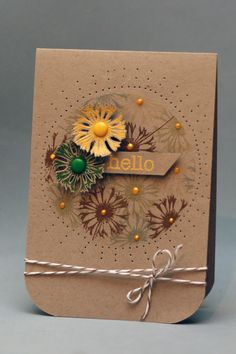 handmade card ...kraft ... two dimensional flowers with the yellow as main focal point ... rounded bottom corners ... baker's twine ... pierching ... stamping darker brown ...