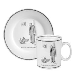 "Konitz New Yorker Collection Mug and Salad Set Outside The Box, White/Black by Konitz. $19.95. Dishwasher and microwave safe. Highly durable porcelain. New Yorker cartoon ""never, ever, think outside the box"". One 13-ounce Coffee Mug and one 7.5 inch Desert Plate. A great Gift Idea. For more than 80 years The New Yorker's cartoons have been recognized for their style, wit, and intelligence. The New Yorker's cartoonists have created a truly American genre of art..."