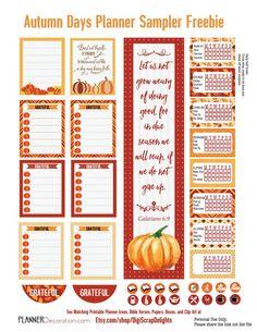 Autumn Days Sampler Freebie. Check out the adorable pumpkin lists! #plannerlove…