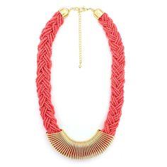 Tazza Gold-Tone Metal Braided Coral Seed Bead Fashion Bib Adjustable Lobster Closure Statement Necklace