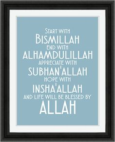 {DESCARGA INMEDIATA}--- Arte islámico moderno 8 X 10 digital Descargar – Inicio con Bismillah, final con gracias a Dios, apreciar con SubhanAllah, espero con InshaAllah y la vida será bendecida por Alá. --Detalles del producto-- Tamaño del archivo: 8 x 10 Formato de archivo: jpg --¿Puedo imprimir esto en casa? -- Seguro que puedes! Sólo tienes que descargar el archivo una vez finalizado el proceso de pago, abrir el archivo e imprimir sólo :) o puede tenerlo impreso profesionalmente por ...