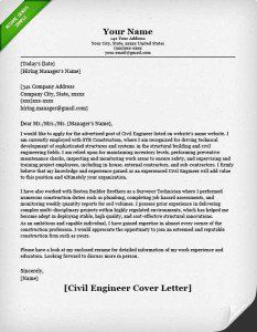 Entry Level Civil Engineer Cover Letter Example
