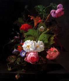 Rachel-Ruysch Still Life With Flowers & Sun. Dutch  Early 1700's. Rachel Ruysch  one of only three significant women artists in Dutch Golden Age painting