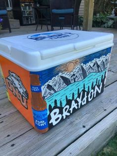 COOLERSbyU Painted Cooler Examples | Budlight Beer Bottle Corner | Tags: budlight, beer, bottle. painted, corner Painted Fraternity Coolers, Painted Coolers, Frat Coolers, Homemade Cooler, Stuff To Do, Fun Stuff, Formal Cooler Ideas, Bff Halloween Costumes, Cooler Painting