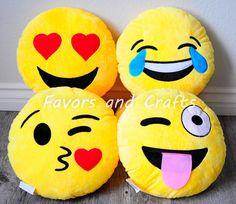 Emoji Pillow Yellow Soft Round Cushion Emoji by Favorsandcrafts