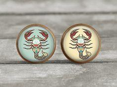 Post Earrings Jewelry  12mm Scorpio Scorpion by MaDGreenCreations, $7.95