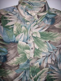 TORI RICHARD L Camp Shirt Large Hawaiian Aloha Floral Palm 100% Cotton Lawn LNC