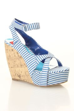 Mila Wedge Sandals In Blue