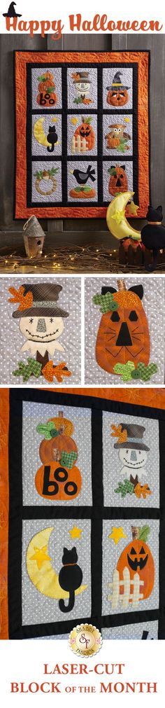Happy Halloween BOM Add a sweetly spooky touch to your home with the Happy Halloween wall hanging! Designed by Debbie Busby and re-colored in cotton here at Shabby Fabrics, this darling quilt features timeless Halloween icons -- A cute black cat on the moon, smiling scarecrow, a wide-eyed owl, pumpkins galore and so much more!