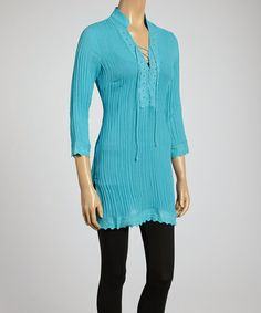 Another great find on #zulily! Aqua Scallop Trim Peasant Tunic by Janet Paris #zulilyfinds