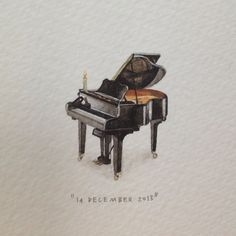 Day 348 : Baby Grand. Happy birthday @lupusludens! 30 x 24 mm. #365paintingsforants #miniature #watercolour #black #babygrand (at Vredehoek)