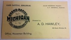 Business card for Grand Rapids Michigan Fire Insurance Co., 602 South Division - c. 1900 - Part of the Public Museum collection, http://www.grmuseum.org
