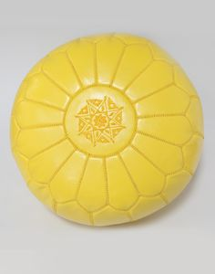 MOROCCAN LEATHER POUFFE - YELLOW - H30 W50CM