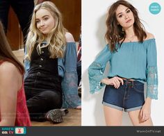 Maya's blue lace off shoulder top on Girl Meets World.  Outfit Details: https://wornontv.net/57835/ #GirlMeetsWorld
