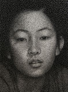 """The """"Constellation"""" portraits by Kumi Yamashita use only three materials: a solid white wooden panel, galvanized nails, and a single piece of sewing thread. It is through the density of the thread woven between the nails that the gradients of the portrait develop."""