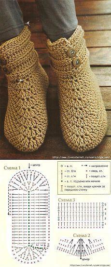 Crochet slippers diagram patterns 15 ideas for 2019 Booties Crochet, Gilet Crochet, Crochet Slipper Pattern, Crochet Sandals, Crochet Gloves, Crochet Slippers, Crochet Yarn, Crochet Slipper Boots, Crochet Patterns