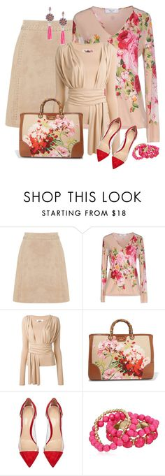 """""""Pink & Red Roses"""" by feelgood35 ❤ liked on Polyvore featuring Oasis, Blugirl, MM6 Maison Margiela, Gucci, Gianvito Rossi and Gerard Yosca"""