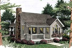 Love this small house! Houseplans.com Front Elevation Plan #406-215